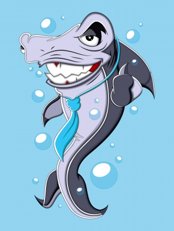 Evil Business Cartoon Shark  Illustration Vector
