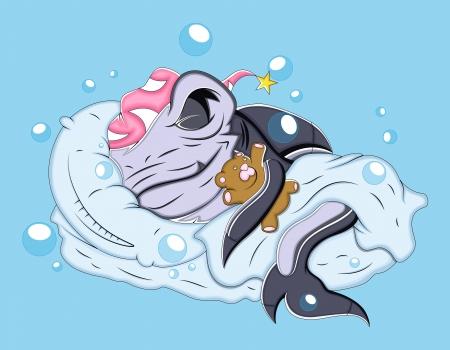 tiburon caricatura: Dormir Cartoon Shark Ilustraci�n