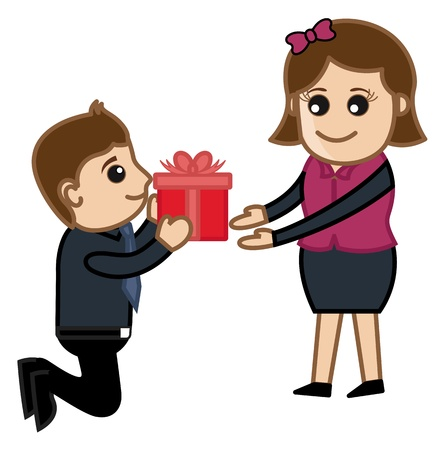 Man Presenting a Gift Box to Girl Vector