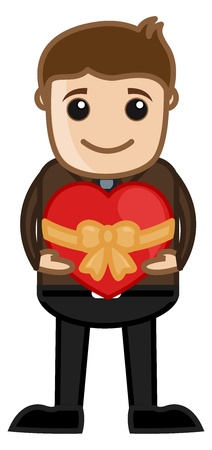 confess: Man Presenting a Heart Shaped Gift Box Illustration