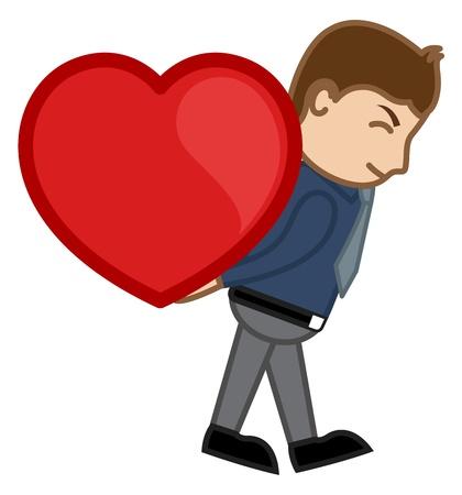 irritate: Man Lifting Heart Cartoon Character Man