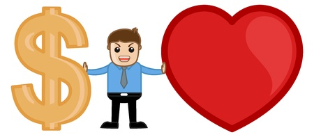 Man with Love or Money Concept Cartoon Vector