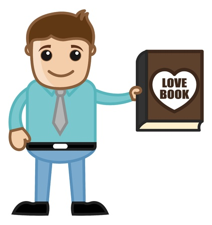 Man Presenting a Love Book Illustration Vector