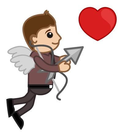 cupid man: Cupid Office Man Cartoon