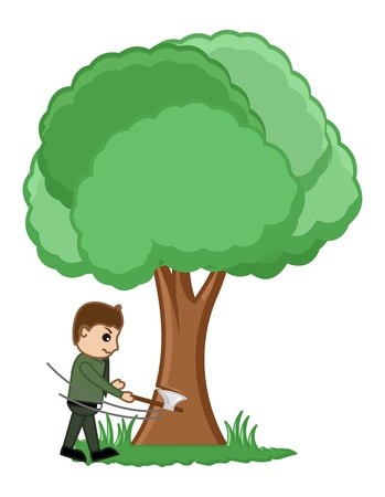 cut grass: Man Cutting Tree Illustration