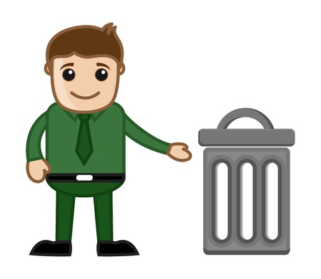 Man with Trash Bin Illustration Vector