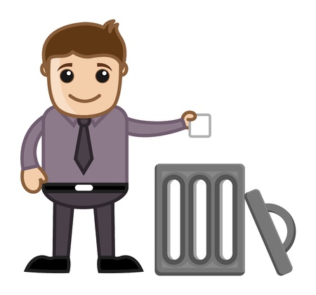 Man Throwing Garbage in Trash Vector