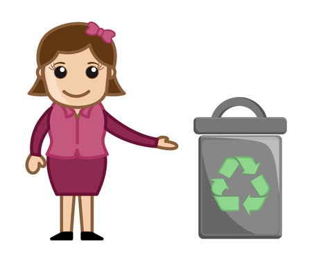Woman with Recycle Bin Vector