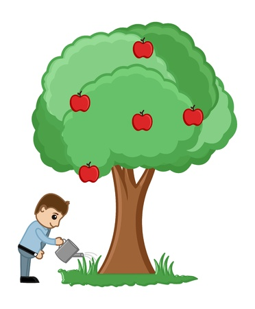 Man Watering a Tree Vector