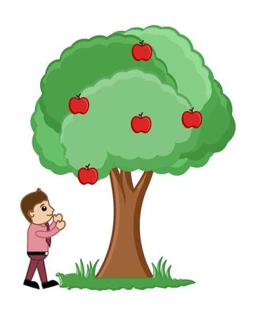 Man Plucking Fruits from Tree Illustration Vector
