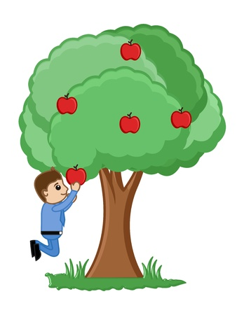 plucking: Man Plucking an Apples from Tree Illustration