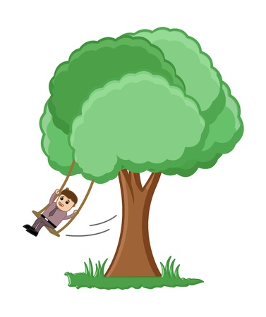 Swinging on a Tree Branch Illustration Vector