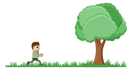 Man Running to a Tree Illustration Vector