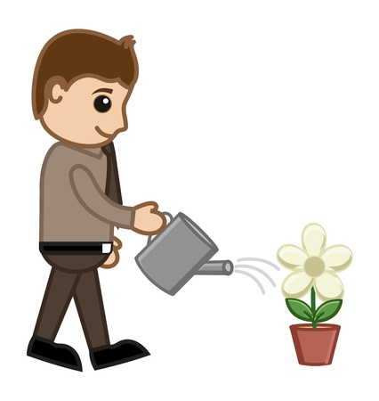 Man Watering a Plant Stock Vector - 20728667