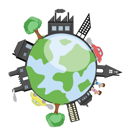 drive around the world: Buildings, Trees and Children Around the Earth Illustration