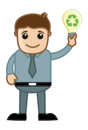 Man Holding a Bulb Having Recycling Idea Concept Vector
