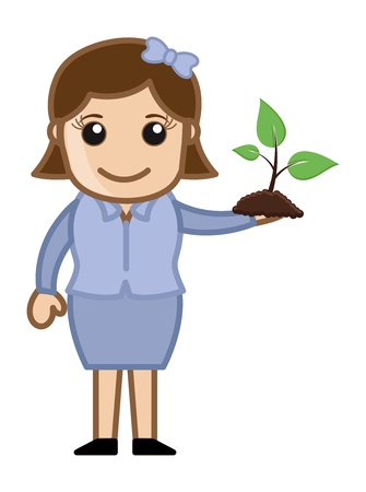 Girl Holding a Small Plant Stock Vector - 20728677