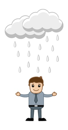Office Man in the Rain Vector