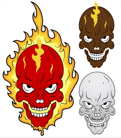 Skull in Flames Illustration Vector