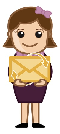 Holding an Envelope E-mail Concept Illustration Vector