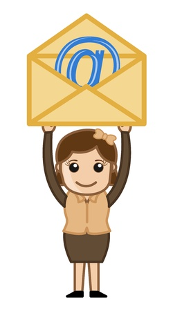 Woman holding an E-mail Illustration Vector
