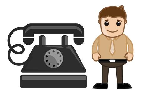 Cartoon Man with an Old Phone Vector