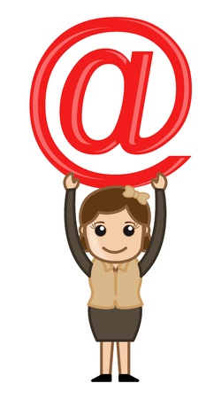 Holding an at Sign - E-mail Cartoon Concept Illustration