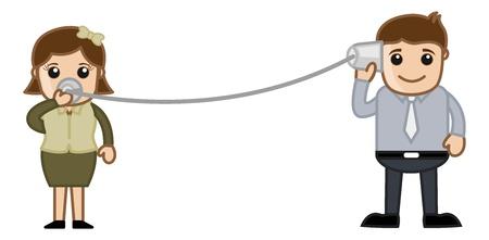 service boy: Helpline Connecting Concept Illustration