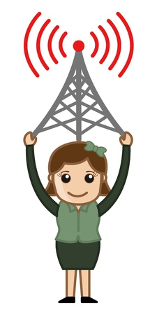 Girl Having a Network Tower Vector