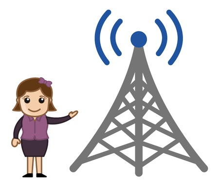 tv tower: Girl Showing a TV Signal Tower