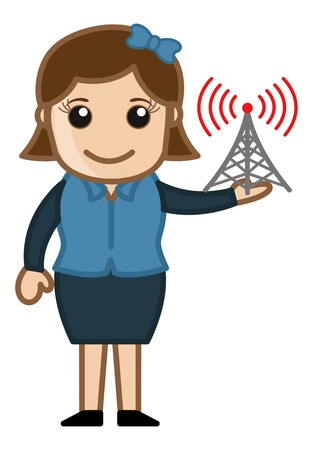 Girl with Internet Signal Tower Vector