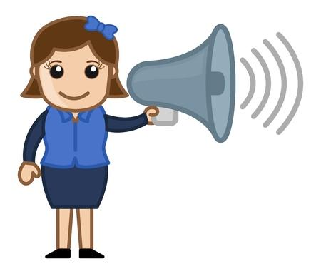 Cartoon Girl with Speaker Stock Vector - 20771373