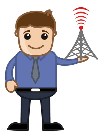 tv tower: Man with TV Tower