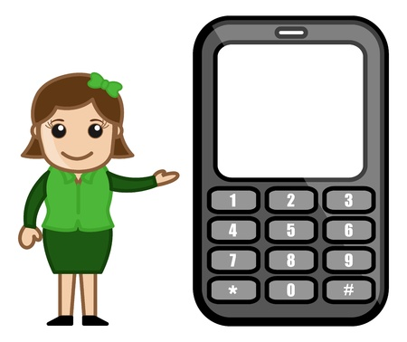 Girl Presenting Phone Stock Vector - 20771317