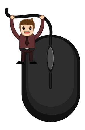 Cartoon Man with Mouse Stock Vector - 20771397