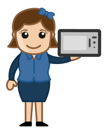 Woman Presenting Microwave Oven Vector