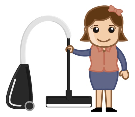 cleaning equipment: Woman with Vacuum Cleaner