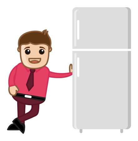 Refrigerator Sales Man Vector