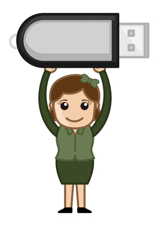 Woman with Pen Drive Vector