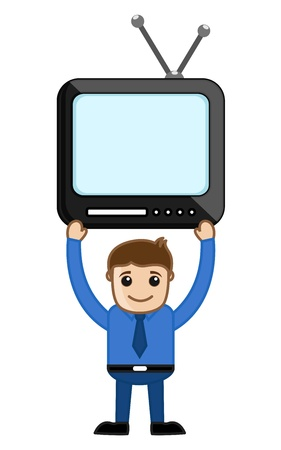 Man Holding a TV Above Shoulders Vector