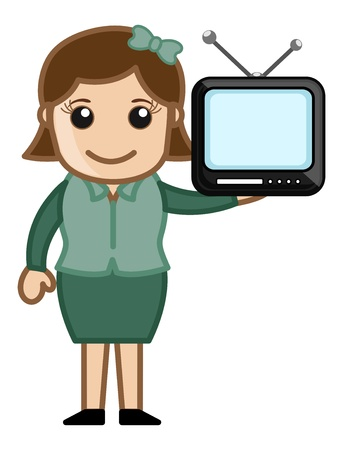 Mini TV in a Girl Hand Stock Vector - 20771659