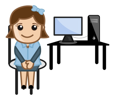 receptionist: Desktop Computer Teacher Illustration