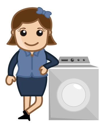washing machine: Mujer con Lavadora Vectores