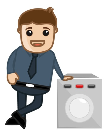 Washing Machine Sales Man Vector