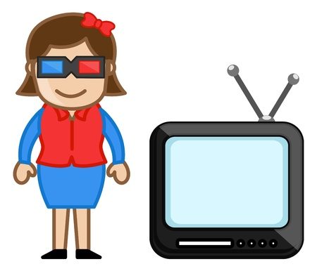 3D Glasses and TV with a woman Stock Vector - 20771714