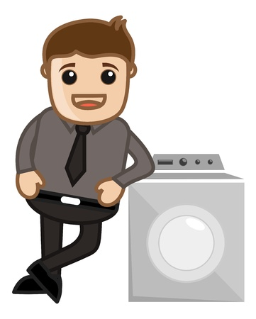Man Standing with Washing Machine Vector