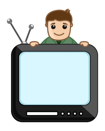 Man with TV Screen Vector