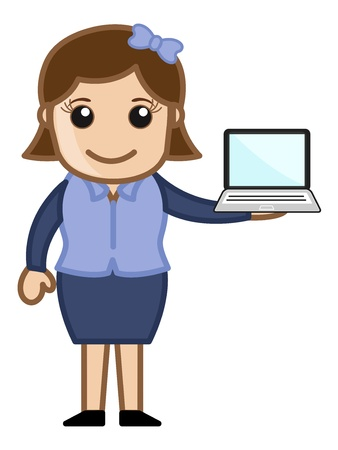 Girl with a Laptop Stock Vector - 20771423