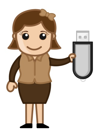 Girl with Pen Drive Vector