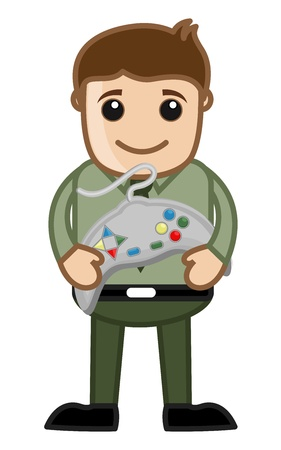 joypad: Playing Video Game Concept by Office man Character